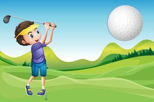 Menino, golfe jogando