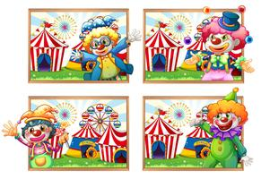 Quatro foto frame de palhaços no circo vetor