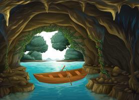 Um barco na caverna vetor