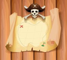 Caveira de pirata e um mapa na parede vetor