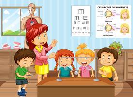 Professor de ciências e alunos em sala de aula vetor