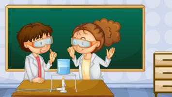 Estudantes, em, laboratório vetor