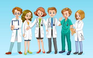 Uma equipe médica em fundo azul vetor