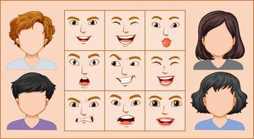 Expressão facial masculina e feminina vetor