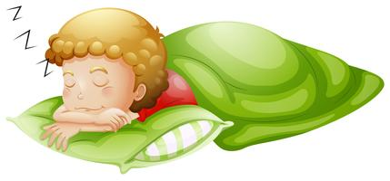 Um garotinho dormindo profundamente vetor