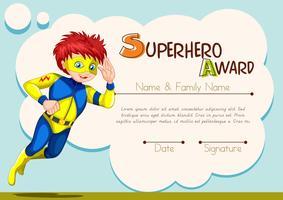 Modelo de prêmio de super-herói com caráter no fundo vetor