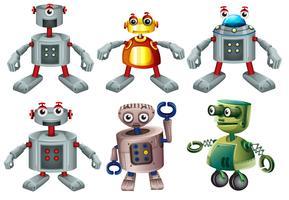 Seis robôs vetor