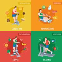 Conjunto de máquinas de exercício