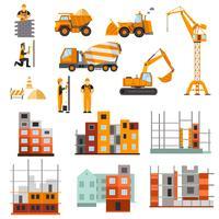Conjunto de máquinas de construção vetor