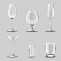 Conjunto transparente de vidro vetor