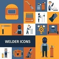 Conjunto de ícones de soldador vetor