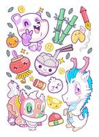 cute china sticker set doodle vetor