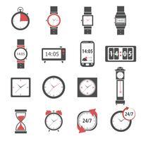 Conjunto de ícones de tempo preto