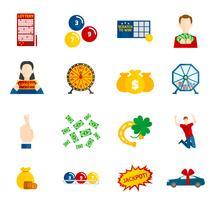 Loteria Icon Flat Set vetor