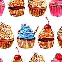 Cupcakes design padrão sem emenda vetor