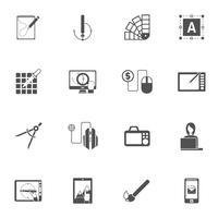 Ícones pretos do projeto gráfico