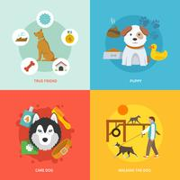 conjunto de ícones de cão plana
