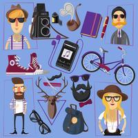 Cartaz de composição de ícones plana hipster vetor