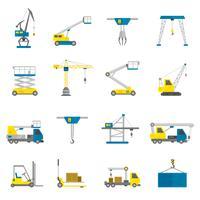 Conjunto de ícones plana de equipamento de levantamento