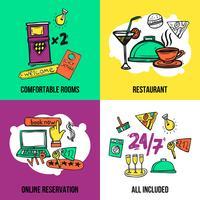 Design de composição de ícones do conceito de Hotel