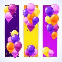 Banners de balões coloridos verticais vetor