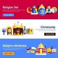 Conjunto de Banner de religião vetor