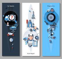 Banners de reparação de automóveis verticais vetor