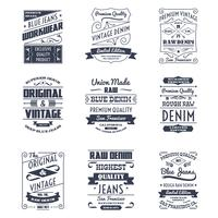 Conjunto de emblemas de logotipo de tipografia de jeans vetor