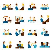 Conjunto de ícones plana de parceria