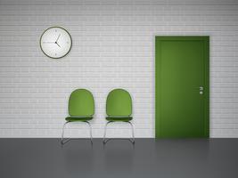 Espera interior com relógio e cadeiras