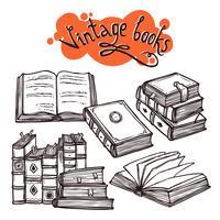 Conjunto de livros preto e branco vetor