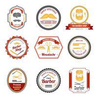 emblemas de loja de barbeiro coloridos vetor