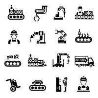 Linha de produção ícones preto