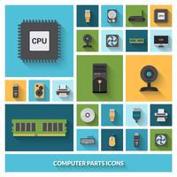 Conjunto de ícones decorativos de peças de computador