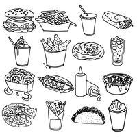 Contorno de ícones de menu de fast-food preto vetor