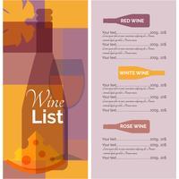 Lista de menu de vinhos stencil print vetor