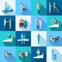 Conjunto de ícones de médicos vetor