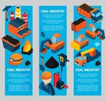 Banners isométricos da indústria de carvão vetor