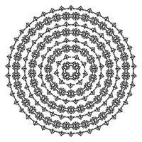 Texturas sem costura étnicas monocromáticas. Forma de vetor ornamental redondo isolada no branco. Fundo Oriental arabesco. Ilustração vetorial