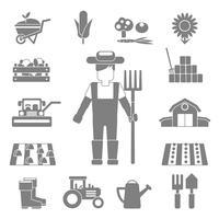 Conjunto de ícones de agricultor