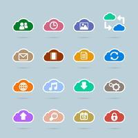 Conjunto de ícones de tecnologia de nuvem, cor de contraste