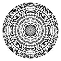 Forma de vetor ornamental redondo isolada no branco.