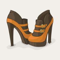 Botas de tornozelo marrom e amarelo vetor