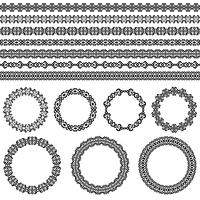 Conjunto de fronteira abstrata étnica. Molduras redondas e bordas. Padrões de elemento de decoração nas cores preto e brancas. Ilustração vetorial