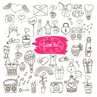amor doodle ícones vetor
