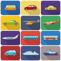 Ícones de transporte multicoloridos planas