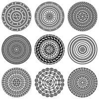 Texturas redondas étnicas monocromáticas. vetor