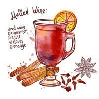 Conjunto de vinho quente vetor