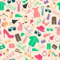 Moda e roupas acessórios sem costura padrão vetor