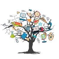 Árvore de doodle de ícone de educação